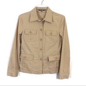 Theory khaki military style safari light jacket k5